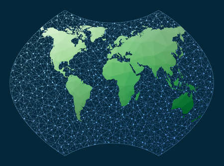 Abstract telecommunication world map. Ginzburg 9 projection. Green low poly world map with network background. Modern connections map for infographics or presentation. Vector illustration.
