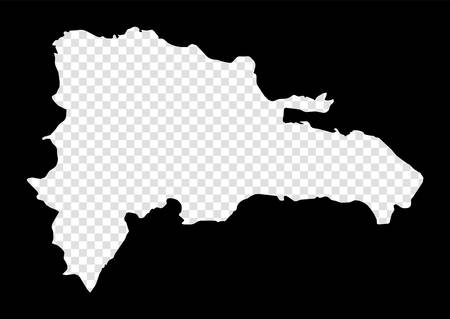 Stencil map of Dominicana. Simple and minimal transparent map of Dominicana. Black rectangle with cut shape of the country. Authentic vector illustration. Иллюстрация