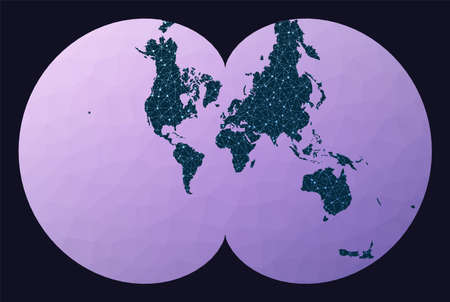 Communications map of the world. Eisenlohr conformal projection. World network map. Wired globe in Eisenlohr projection on geometric low poly background. Awesome vector illustration.