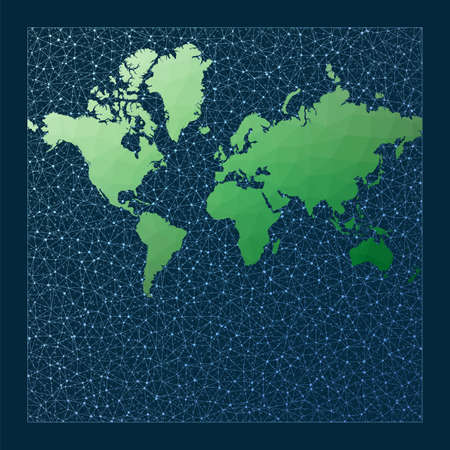Illustration of global network. Mercator projection. Green low poly world map with network background. Modern connections map for infographics or presentation. Vector illustration. 向量圖像