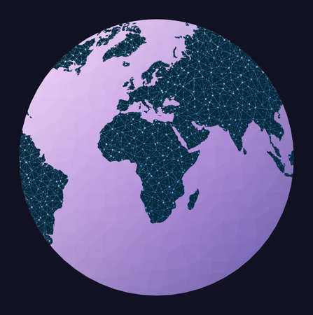 Network map of the world. Chamberlin projection for Africa projection. World network map. Wired globe in Chamberlin Africa projection on geometric low poly background. Modern vector illustration.