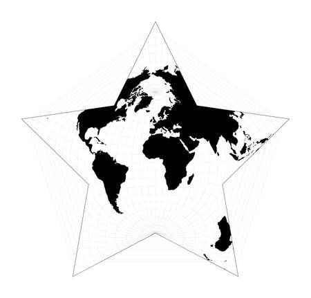 Black world map on white background. Berghaus star projection. Plan world geographical map with graticlue lines. Vector illustration. Иллюстрация
