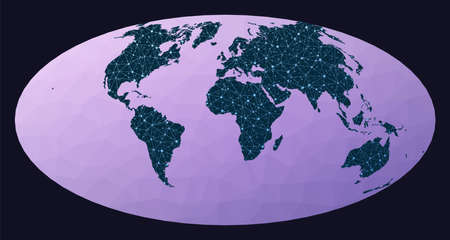 Network map of the world. Aitoff projection. World network map. Wired globe in Aitoff projection on geometric low poly background. Appealing vector illustration.