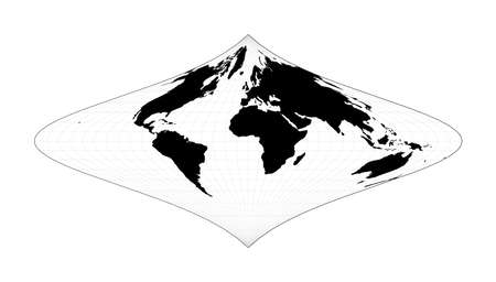 World contour. Foucaut's stereographic equivalent projection. Plan world geographical map with graticlue lines. Vector illustration.