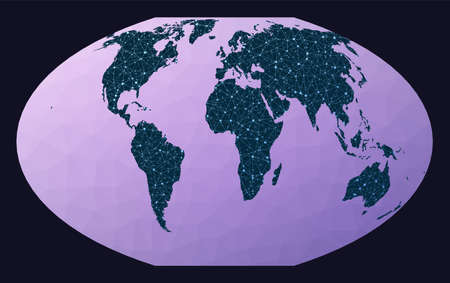 Abstract telecommunication world map. McBryde-Thomas flat-polar quartic pseudocylindrical equal-area projection. World network map.