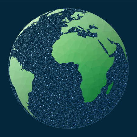 Illustration of global network. Orthographic projection. Green low poly world map with network background. Artistic connections map for infographics or presentation. Vector illustration.