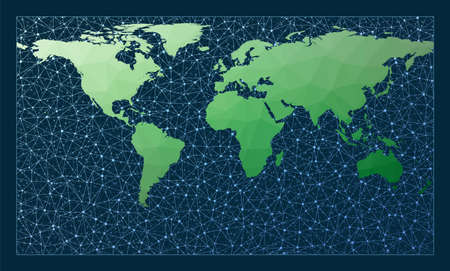 Global network. Patterson projection. Green low poly world map with network background. Astonishing connections map for infographics or presentation. Vector illustration.