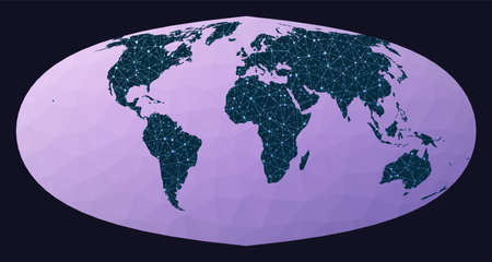 World map connection. Foucaut's sinusoidal projection. World network map. Wired globe in Foucaut Sinusoidal projection on geometric low poly background. Classy vector illustration.