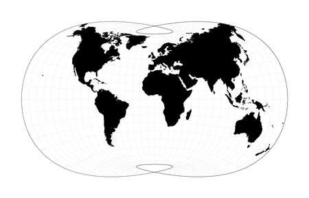 Abstract map of world. Laskowski tri-optimal projection. Plan world geographical map with graticlue lines. Vector illustration.