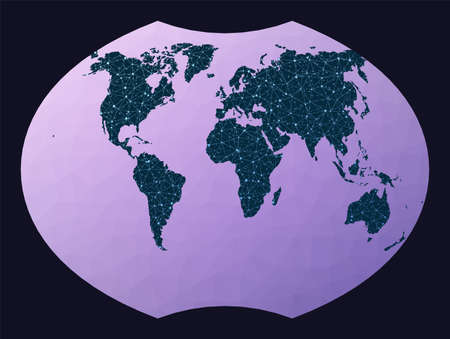 World map with nodes. Ginzburg VI projection. World network map. Wired globe in Ginzburg 6 projection on geometric low poly background. Neat vector illustration.