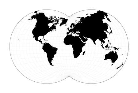 Minimal world map. Van der Grinten IV projection. Plan world geographical map with graticlue lines. Vector illustration.