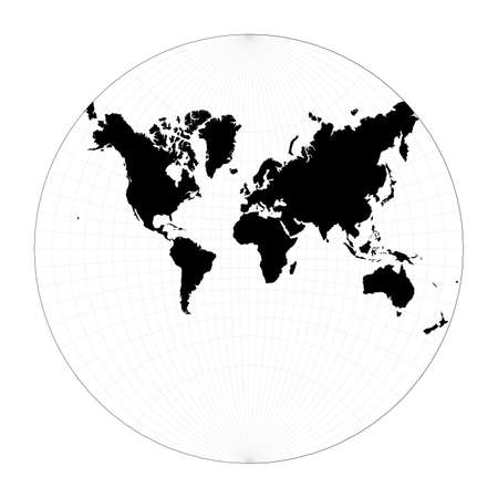 Map of the world illustration. Lagrange conformal projection. Plan world geographical map with graticlue lines. Vector illustration.