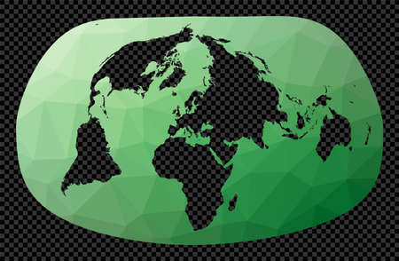 Low poly map of the world. Bertin 1953 projection. Polygonal map of the world on transparent background. Stencil shape geometric globe. Charming vector illustration. Ilustracja