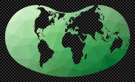 Geometric world map. Hill projection. Polygonal map of the world on transparent background. Stencil shape geometric globe. Astonishing vector illustration. Иллюстрация