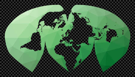 Polygonal map of the world on transparent background. Interrupted Sinu Mollweide projection. Polygonal map of the world on transparent background. Stencil shape geometric globe.