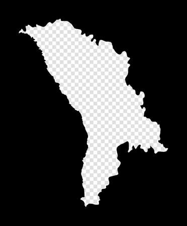 Stencil map of Moldova. Simple and minimal transparent map of Moldova. Black rectangle with cut shape of the country. Powerful vector illustration. Ilustracja