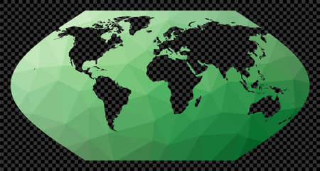 Geometric world map. Eckert 5 projection. Polygonal map of the world on transparent background. Stencil shape geometric globe. Attractive vector illustration.