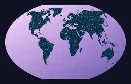 World map with nodes. Winkel tripel projection. World network map. Wired globe in Winkel 3 projection on geometric low poly background. Modern vector illustration. Иллюстрация