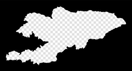 Stencil map of Kyrgyzstan. Simple and minimal transparent map of Kyrgyzstan. Black rectangle with cut shape of the country. Artistic vector illustration.