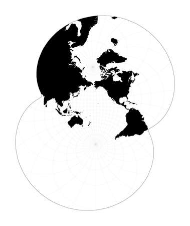 Black world map on white background. Modified stereographic projection for the Pacific ocean. Plan world geographical map with graticlue lines. Vector illustration. Иллюстрация