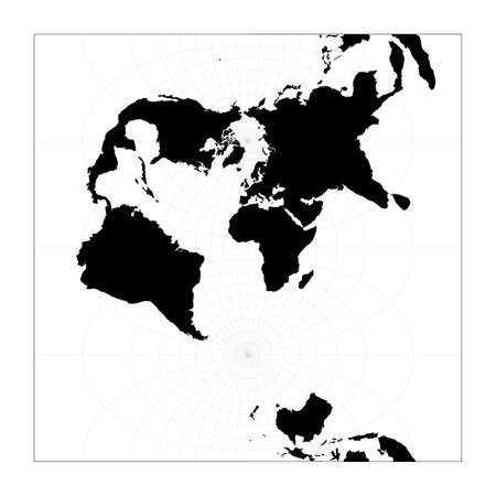 Black world map on white background. Transverse spherical Mercator projection. Plan world geographical map with graticlue lines. Vector illustration.