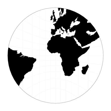 World map with latitude lines. Gnomonic projection. Plan world geographical map with graticlue lines. Vector illustration.