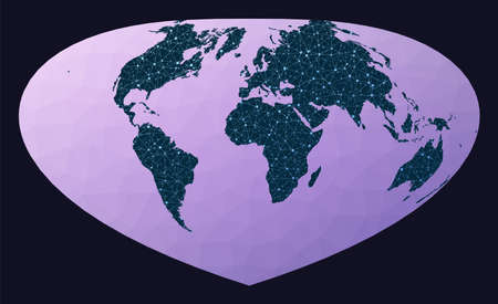 World map graph. Bottomley projection. World network map. Wired globe in Bottomley projection on geometric low poly background. Creative vector illustration.
