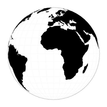 World shape. Orthographic projection. Plan world geographical map with graticlue lines. Vector illustration.