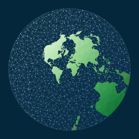 Global internet business concept. Stereographic projection. Green low poly world map with network background. Modern connections map for infographics or presentation. Vector illustration.