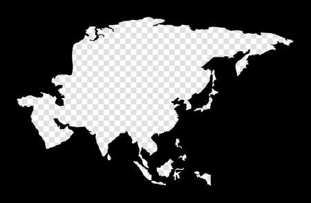 Stencil map of Asia. Simple and minimal transparent map of Asia. Black rectangle with cut shape of the continent. Appealing vector illustration.