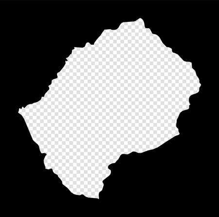 Stencil map of Lesotho. Simple and minimal transparent map of Lesotho. Black rectangle with cut shape of the country. Cool vector illustration.