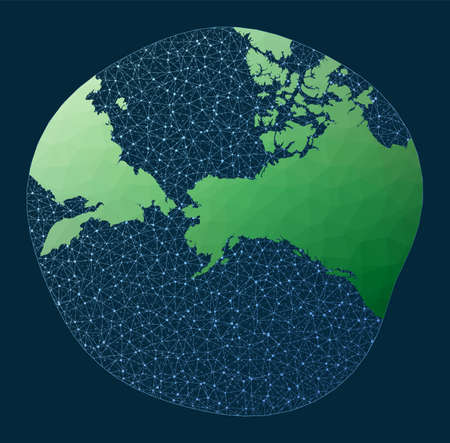 Global internet business concept. Modified Stereographic Alaska projection. Green low poly world map with network background. Powerful connections map for infographics or presentation.