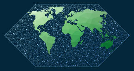 Global network. Eckert 1 projection. Green low poly world map with network background. Superb connections map for infographics or presentation. Vector illustration.