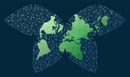Internet and global connections map. Polyhedral Waterman projection. Green low poly world map with network background. Captivating connections map for infographics or presentation.