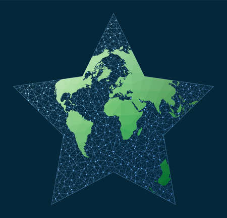 Illustration of global network. Berghaus projection. Green low poly world map with network background. Captivating connections map for infographics or presentation. Vector illustration.