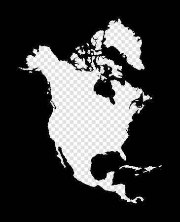 Stencil map of North America. Simple and minimal transparent map of North America. Black rectangle with cut shape of the continent. Astonishing vector illustration. Çizim