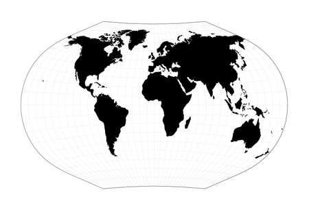 Minimal world map. Ginzburg V projection. Plan world geographical map with graticlue lines. Vector illustration.