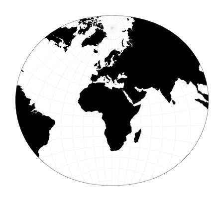 Vector world map. Modified stereographic projection for Europe and Africa. Plan world geographical map with graticlue lines. Vector illustration.