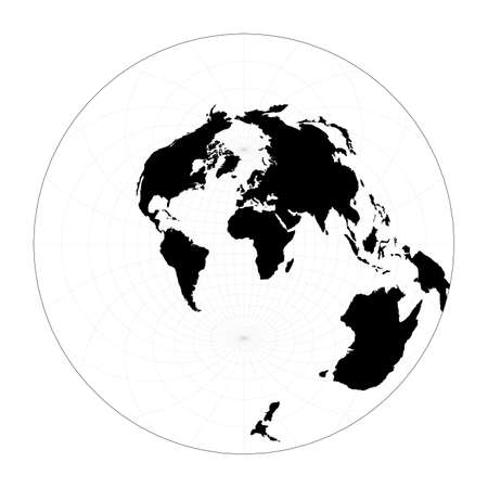 Minimal world map. Airy's minimum-error azimuthal projection. Plan world geographical map with graticlue lines. Vector illustration.