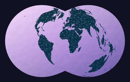 Abstract telecommunication world map. Rectangular (War Office) polyconic projection. World network map. Wired globe in Rectangular Polyconic projection on geometric low poly background.