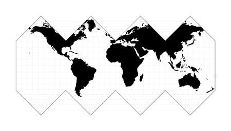 EPS10 Vector World Map. HEALPix projection. Plan world geographical map with graticlue lines. Vector illustration. Stock Illustratie