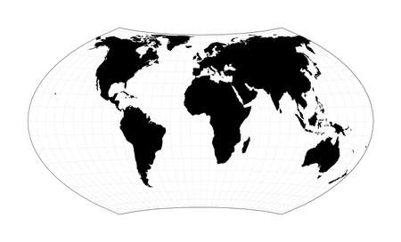 World map with latitude lines. Wagner VII projection. Plan world geographical map with graticlue lines. Vector illustration. Stock Illustratie