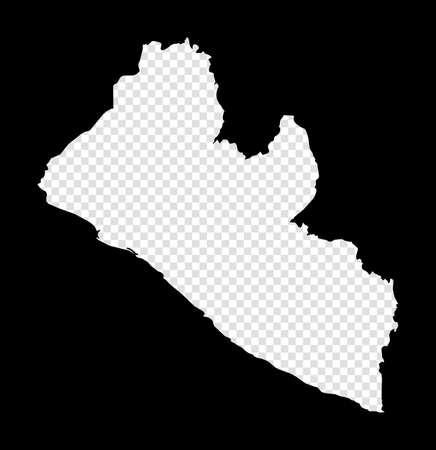 Stencil map of Liberia. Simple and minimal transparent map of Liberia. Black rectangle with cut shape of the country. Captivating vector illustration. Çizim