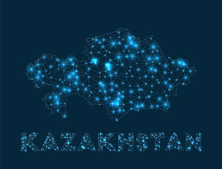 Kazakhstan network map. Abstract geometric map of the country. Internet connections and telecommunication design. Amazing vector illustration.