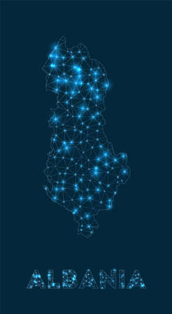 Albania network map. Abstract geometric map of the country. Internet connections and telecommunication design. Captivating vector illustration.