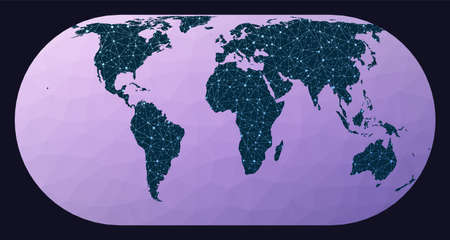Global network. Herbert Hufnages pseudocylindrical equal-area projection. World network map. Wired globe in Hufnagel projection on geometric low poly background. Authentic vector illustration.