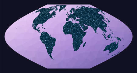 Global network concept. McBryde-Thomas flat-polar sinusoidal equal-area projection. World network map. Wired globe in Mt Flat Polar Sinusoidal projection on geometric low poly background.