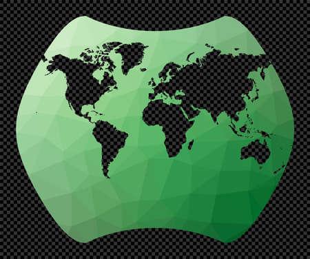World map. Larrivee projection. Polygonal map of the world on transparent background. Stencil shape geometric globe. Powerful vector illustration. Çizim