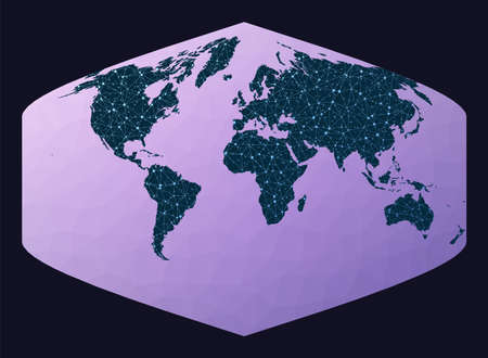 Abstract telecommunication world map. Baker Dinomic projection. World network map. Wired globe in Baker projection on geometric low poly background. Beautiful vector illustration. Ilustracja