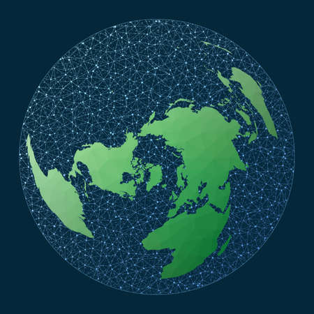 Illustration of global network. Wiechel projection. Green low poly world map with network background. Amazing connections map for infographics or presentation. Vector illustration. Vector Illustration